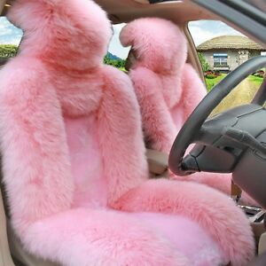 Winter-Automobile-Decoration-Pink-Car-2-Front-Seat-Cover-Australian-Sheepskin