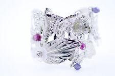 Art Deco three silver butterflies flowers open bracelet