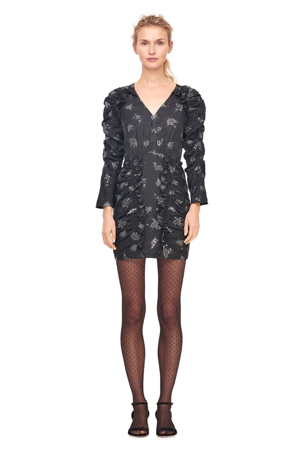 7414fd214cd94e NEW Rebecca Taylor Glitter Print Silk Jacquard Dress in schwarz - Größe 10