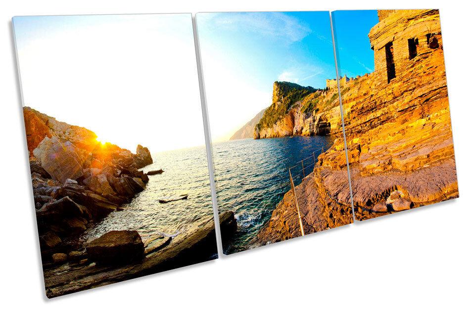 Liguria Coast  Seascape TREBLE CANVAS WALL ART Print Picture