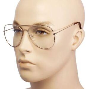 1c33c3b612a Clear Lens Aviator Eyeglasses Men Women Gold Black Metal Classic ...