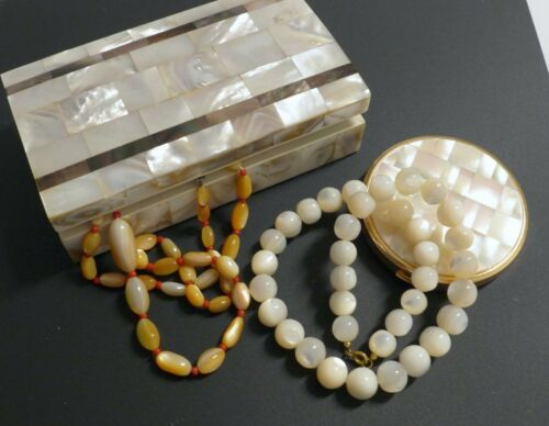 Vintage Lot Mother of Pearl Box Jeweled Powder Com