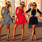 Fashion Women Long Sleeve Bodycon Dress Evening Party Cocktail Short Mini Dress