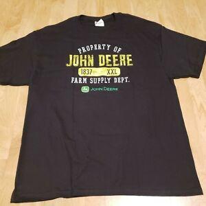 John-Deere-Logo-100-Cotton-Black-Men-039-s-Large-XL-Farm-Supply-T-Shirt-MS5
