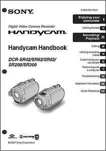 sony dcr sr42 dcr sr62 sr82 sr200 sr300 camcorder user instruction rh ebay com sony camcorder instruction manual sony handycam avchd user manual