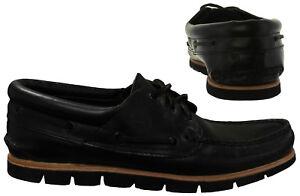 para A1mws barcos Eye Cubierta U11 negro Up de cuero Lace Zapatos Timberland 3 para hombre AOYAn0Z