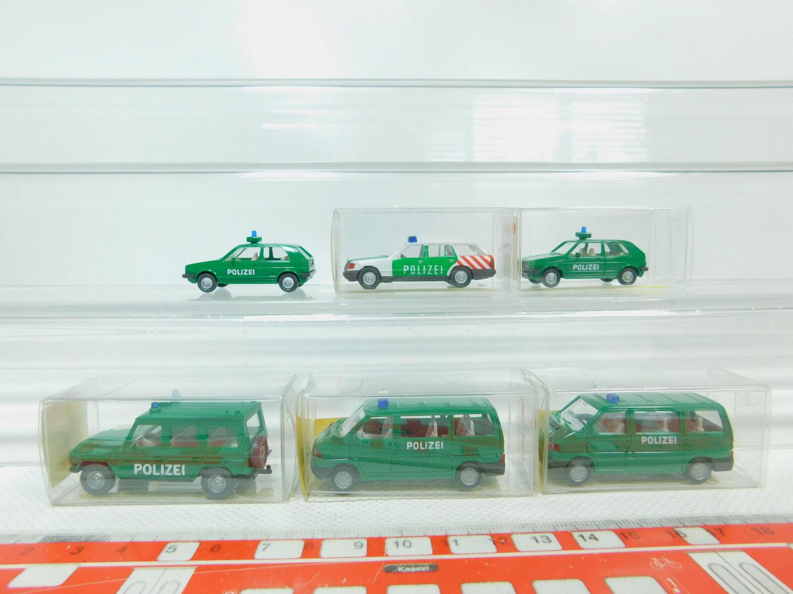 Bn93-0, 5  6x Wiking h0 1 87 Police-voitures  109 104 VW + 106 103 Mo etc Neuw +5x neuf dans sa boîte