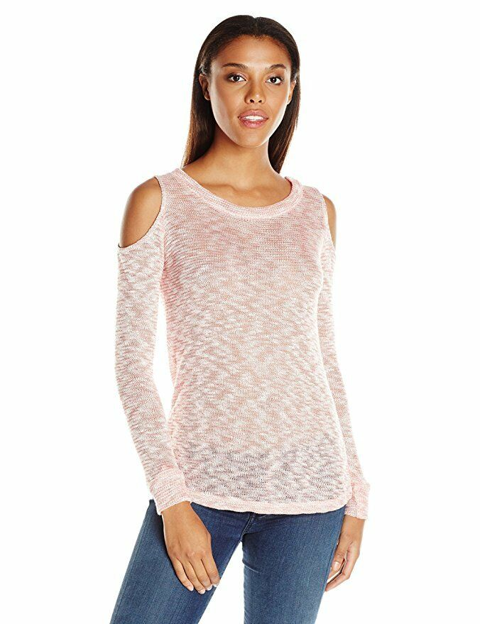 Splendid - Women's S - NWT - Cayenne Pink Space Dye Cold Shoulder Sweater