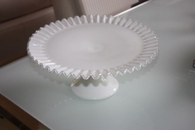 Vintage Fenton Ruffled Milk Glass Silver Crest High Footed Cake Plate Nice!