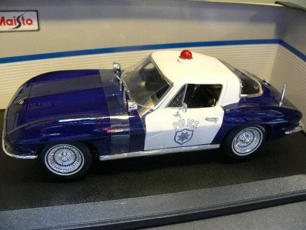 1 18 Maisto Chevrolet Corvette 1965 POLICE BLEU 31381