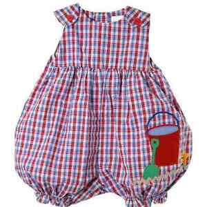 3461ee3de Details about Sweet Petit Ami Red Blue Plaid Baby Girl Bubble Romper w Sand  Pail