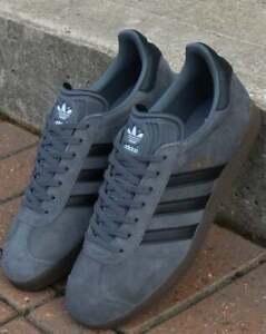 Details zu adidas Gazelle Trainers in Grey & Black suede, gum sole retro classic