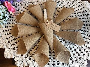 Image Is Loading Empty Hessian Confetti Cones Wedding Favours Barn