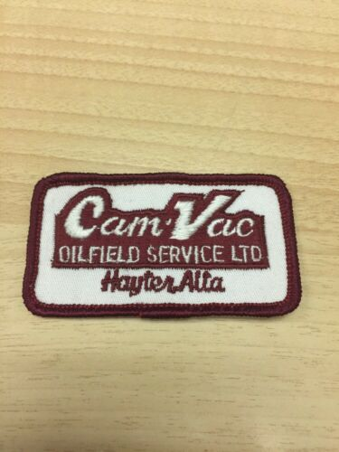 "Vtg Cam-Vac Oilfield Service 3/"" Embroidered Patch Sew On Hayter Alberta Canada"