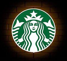 STARBUCKS BADGE SIGN LED LIGHT BOX MAN CAVE COFFEE DRINK GAMES ROOM BOYS GIFT