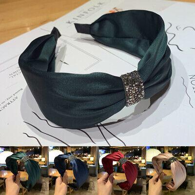 Hairband Rhinestone Women Bezel Hoop Hair Headband Knotted Side Turban Wide
