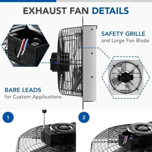 iPower 12 Inch Shutter Exhaust Fan Aluminum High Speed 1620RPM 940 CFM
