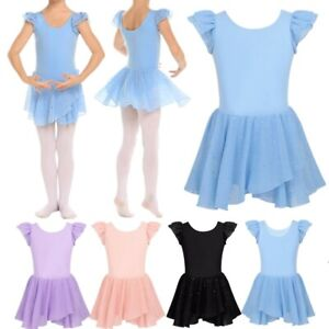 Girls-Gymnastics-Ballet-Dance-Tutu-Dress-Leotards-Glitters-Skirt-Show-Costumes