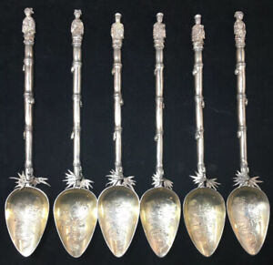 6 Figural Cocktail Spoons Bamboo Design Chinese Sterling Silver Export
