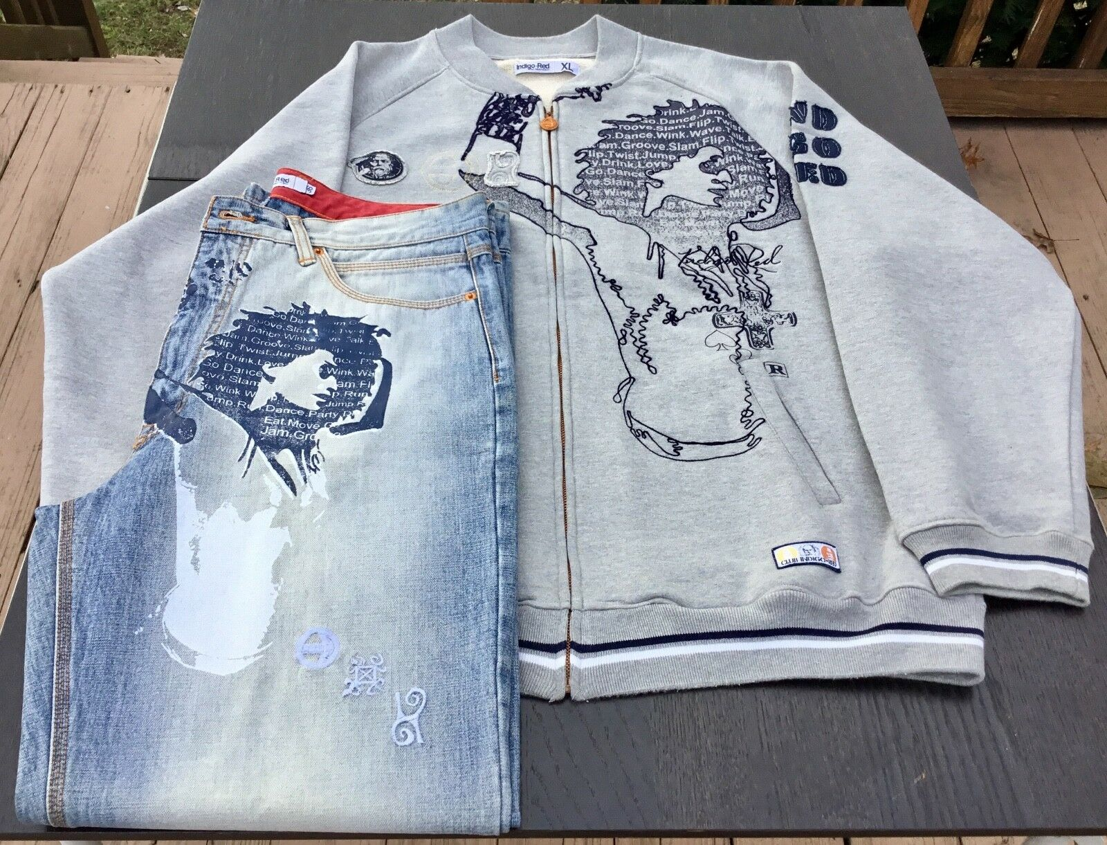 Indigo Red Mens (Set  Lot) Jeans (36) and Sweater (XL), Streetwear