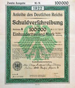 Anleihe-des-Deutfchen-Reichs-1922-German-100-000-marks-bond-certificate
