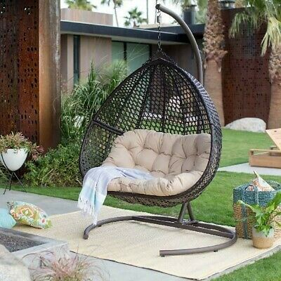 Sensational Double 2Seat Wicker Hanging Egg Chair W Cushion Stand Patio Teardrop Furniture Ebay Ocoug Best Dining Table And Chair Ideas Images Ocougorg