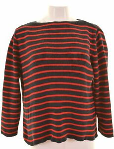MAX-MARA-Womens-Boat-Neck-Jumper-Sweater-Size-16-Large-Red-Striped-KM19