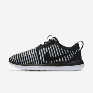 Nike-Roshe-Two-Flyknit-Womens-Shoes-Black-White-Cool-Grey-001-Multiple-Sizes