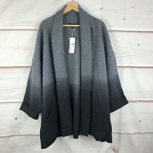 Eileen Fisher Plus Ombre Boiled Wool Womens 2X Open Front Shawl Collar Jacket