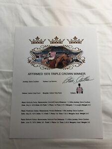 STEVE CAUTHEN SIGNED AUTOGRAPHED 1978 TRIPLE CROWN SHEET RARE AFFIRMED HORSE