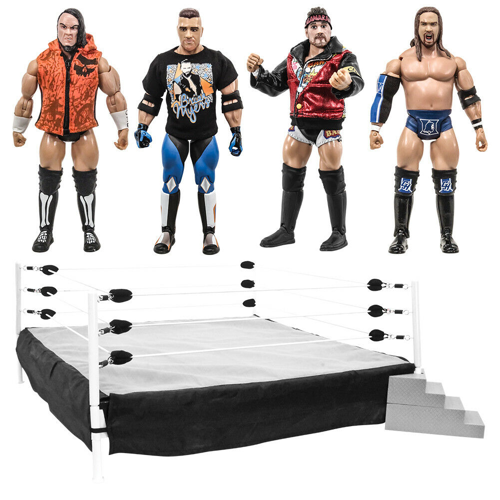 Rising Stars of Wrestling Series Action Figures  Set of 4 Loose Figures & Ring