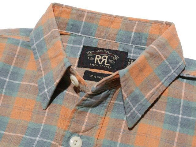 POLO RALPH LAUREN DOUBLE RL RRL orange blueE PLAID FLANNEL WORKSHIRT SHIRT +