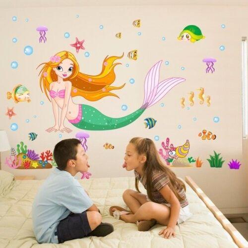 Cartoon Wall Stickers Boys Girls Room Decal Decor Home Mural Little Mermaid LN6X