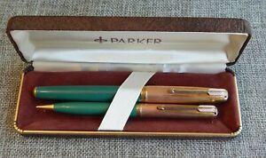 Vintage Parker 51 Fountain Pen Set Empire Cap Nassau Green #1404