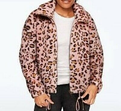 Victorias Secret PINK Know One Cares Semi Cropped Faux Fur Jacket Pink Leopard