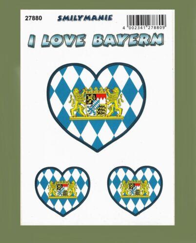 I love Bayern Herz Aufkleber Postkarte Sticker Smilymanie Etikett Bavaria