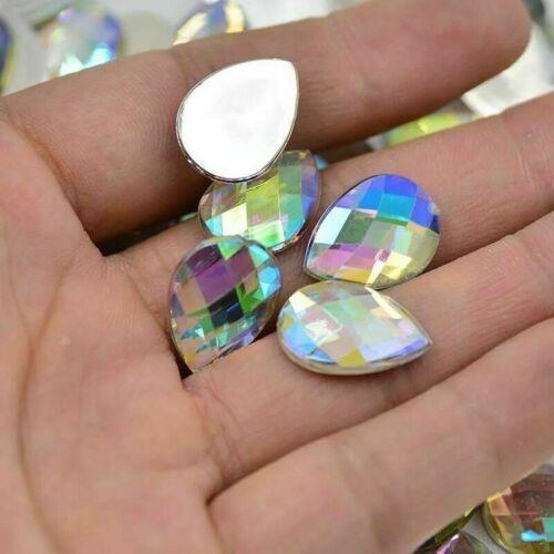 50x Flat back Rhinestone Teardrop Large AB Bead Diamante Gem Crystal Iridescent