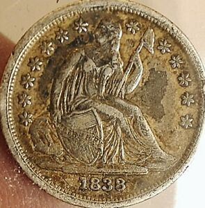 1838 Seated Dime Large stars FULL Liberty & stars better date extra fine XF +