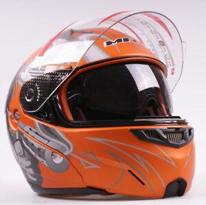 Casque Bol De Moto Scooter Jet Modulable Intégral Orange Mat 2