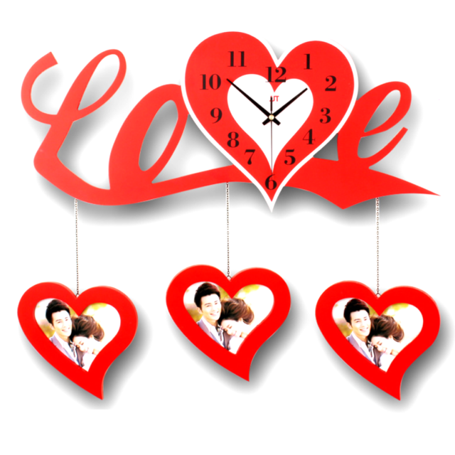 """3D DIY LOVE Wedding Red Wall Clock Photo Frame Art Picture W// Wall Hooks 23.6/""""W"""