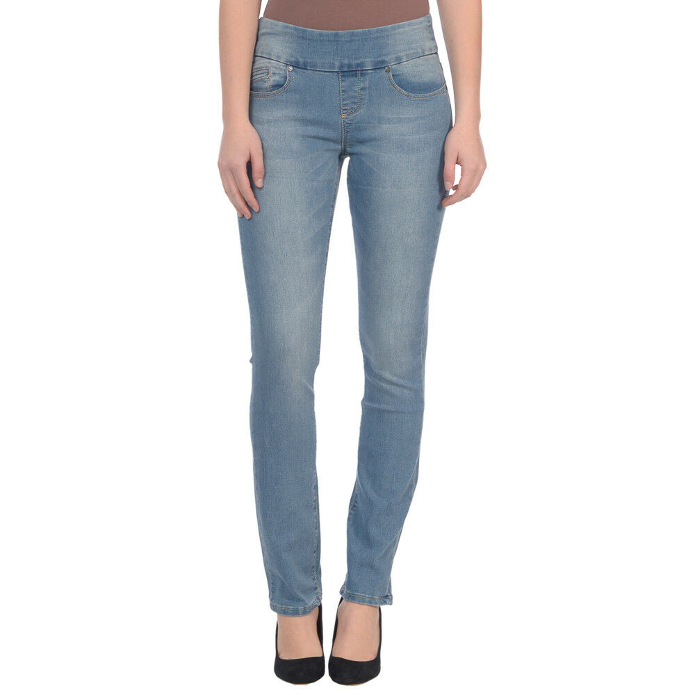 LOLA mid rise pull on 4 way stretch jeans straight leg light bluee size 4   28