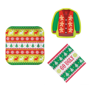 Ugly Sweater Christmas Party Supplies for 16 People 48 Piece Set