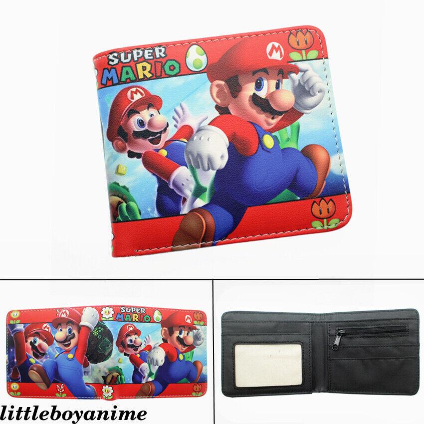 Super Mario Cartoon PU Wallet Bifold Short Purse Card Holder Bag Unisex Coin Bag