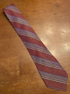 Vtg-1960s-Rayon-Acetate-Vibrant-Striped-Tie-Wide-Hippy-Acid-Psych-57-4