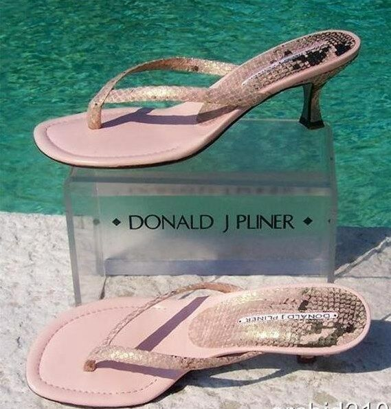 Donald Pliner Couture Metallic Pitone Snake Leather shoes Sandal New Thong