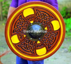 Viking Shield Norse Hand Carving Wooden 24 Inches Warrior Shield