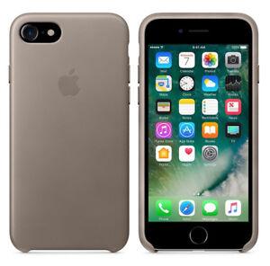 Original-Apple-Case-iPhone-7-8-Leder-Handy-Schutz-Huelle-Cover-OVP-Taupe-Grau