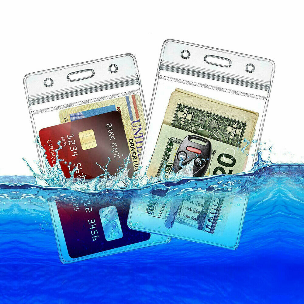 10 Pcs ID Card Holder Clear Plastic Badge Resealable Waterproof Business Case