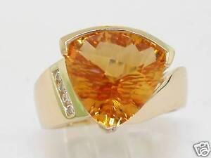 Citrin-Ring-585-Gelbgold-14Kt-Gold-natuerlicher-Citrin-4-Brillanten