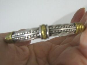 Sterling-Silver-Taxco-Cuff-Bracelet-Mexico-Brass-Rope-Leather-TS-79-Sandoval-18g